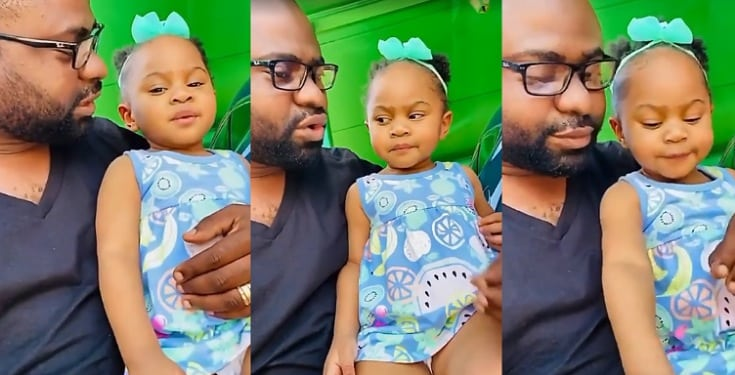 Nigerians react as father advises his little daughter to carry textbooks inside exam hall when she grows up (Video)