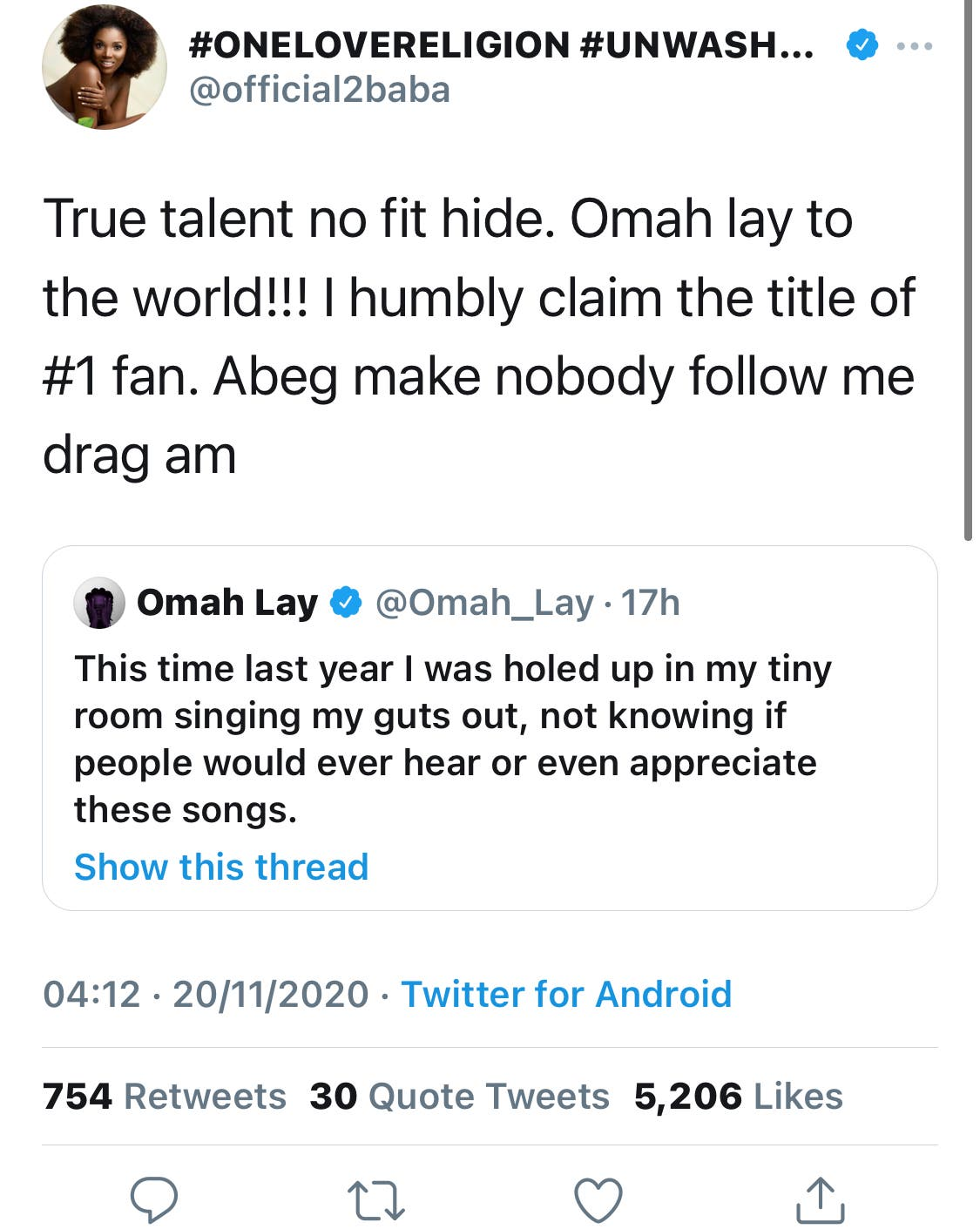 The singer's tweet